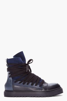 Kris Van Assche | Blue Leather Cinched High-top Sneakers.