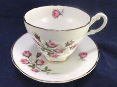 Vintage Teacup & Saucer,Pink Roses Gold Trim,Regency Bone China,England