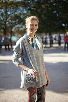STREET STYLE SPRING 2013: PARIS FASHION WEEK - Lena Perminova has the future in her sights in a statement silver necklace.