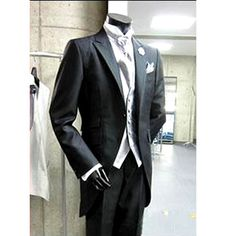 Men Black Retro Vintage Slim Fit Italian Dress Suits Tuxedos Wedding SKU-123084