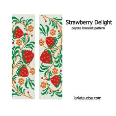 Strawberry Delight Peyote Bracelet Pattern INSTANT by lariata