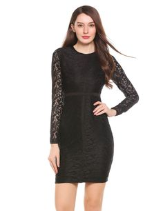 Womens Long Sleeve Floral Lace Cocktail Party Bodycon Pencil Dress