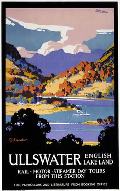 English Travel Poster produced for the London & North Eastern Railway (LNER), promoting rail travel to Ullswater in Cumbria, showing a small steamer boat sailing on the lake, surrounded by the hills and mountains of the Lake District. Ullwater is the second largest lake in England, after Lake Windermere. Artwork by John Littlejohns (c1874). Printed by The Dangerfield Printing Co Ltd, London. This Poster dates between 1923-1947.