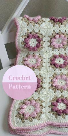 CROCHET PATTERN, Crochet Baby Blanket Pattern, Baby Blanket Pattern, Crochet Nursery Rug, Rose - Flower Blanket Pattern