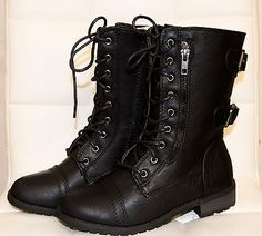 Women Military Combat Lace Up Buckle Boots Zipper Riding Low Heel Mid Calf Round