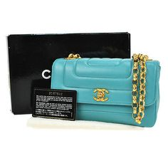 Auth-CHANEL-Quilted-CC-Chain-Shoulder-Bag-Turquoise-Blue-Leather-Vintage-M08467