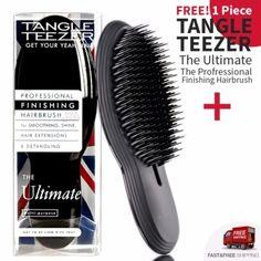 Tangle Teezer The Ultimate The Profressional Finishing Hairbrush For Smoothing and Shine  แปรงหวีผมเรียบตรง หวีผมฟูได้ตรงเรียบไว ช่วยให้ผมไม่พันกัน ลดไฟฟ้าสถิต จับง่ายถนัดมือและยังช่วยนวดหนังศรีษะ (สีดำ/Black) จำนวน 2 ชิ้น   Lazada.co.th