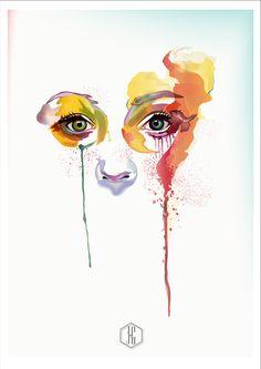 OJOS DE ACUARELA _ FAN ART _ MARION BOLOGNESI  VECTOR by Johnny Gavilanes, via Behance