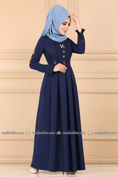 Modaselvim ELBİSE Nakışlı ve Pileli Elbise 9319W153 İndigo Hijab Dress, Hijab Fashion, Indigo, Dresses With Sleeves, Long Sleeve, How To Wear, Islam, Collection, Indigo Dye