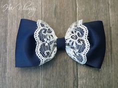 Ribbon and Lace Hair Bow by HairWhimsy1 on Etsy, $7.00