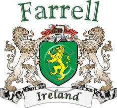 Farrell coat of arms. Irish coat of arms for the surname Farrell from Ireland. View your coat of arms at http://www.theirishrose.com/#top_banner or view the Farrell Family History page at http://www.theirishrose.com/pages.php?pageid=43