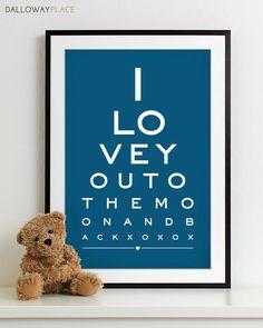 Baby Boy Nursery Art Print Eye Chart Typography Poster