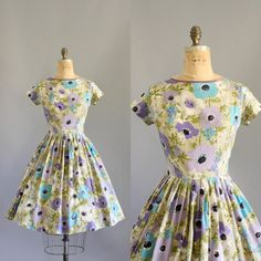 Vintage 50s Dress/ 1950s Cotton Dress/ by WhenDecadesCollide, $128.00