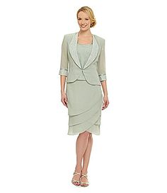 Le Bos SatinPiped Chiffon Skirt Set #Dillards