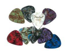 Fender 351 Premium Celluloid Guitar Picks, 12 Pack, White Moto, Heavy by Fender. $3.99. The Classic Celluloid Pick for Your Guitar    You cannot go wrong with the classics. In this case, we are talking about the Fender 351 Premium Celluloid Guitar Pick. Classic shape, heavy weight, Fender Premium Celluloid picks combine the traditional tone and feel of celluloid, with beautiful and unique colors. Celluloid is one of the best pick materials. Ever. It gives you traditi...