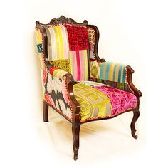 Unique patchwork furniture we have made over the years. Wingback Chair, Armchair, Sofa, Colorful Furniture, Fabric Samples, Boudoir, Accent Chairs, Upholstery, Short Hair