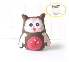 Owl Sewing Pattern Owl Stuffed Animal Hand par LittleSoftieShoppe