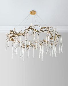 Beautiful brass and glass teardrop chandelier...absolutely gorgeous! Aff