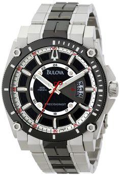 d91f70a06a5 Bulova Men s Precisionist Champlain Black Dial Two Tone Steel Bracelet Dive  Watch