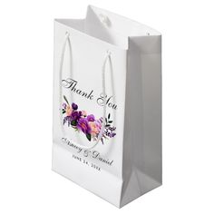 Ultra Violet Purple Watercolor Floral Wedding Small Gift Bag