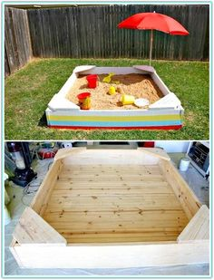 Diy sandbox - 110 diy backyard ideas to try out this spring & summer - diy Backyard Ideas For Small Yards, Backyard For Kids, Backyard Projects, Diy For Kids, Diy Projects, Desert Backyard, Backyard Patio, Casa Patio, Outdoor Play Areas