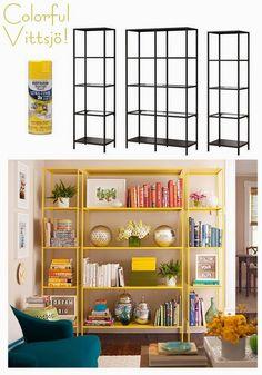 Idées pour un rangement coloré dans le salon #ikea #jaune #colorful