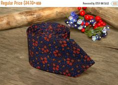 SALE 30% OFF Royal Blue  with Red Flowers Tie / by TheBestBoysTies