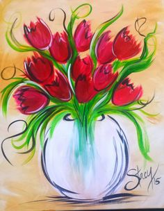 Tulips and swirls beginner painting idea. Tulip Painting, Spring Painting, Painting & Drawing, Flower Painting Canvas, Wine And Canvas, Beginner Painting, Arte Floral, Learn To Paint, Watercolor Flowers