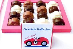 Boys VIntage Racecar themed Birthday party chocolate car food