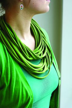 T-shirt scarves! So cute and so easy to make, don't ever throw away old t-shirts again :)