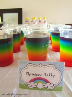 rainbow party food, rainbow jelly