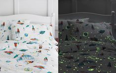 Glow In The Dark Bed Set - Day and Night Views! Geek-up your bedroom with the Glow-in-the-Dark White Rockets Flannel Bedding. The bed sets are made in Portugal, are available in Twin, Double and Queen sizes and include 1 flat sheet, 1 fitted sheet and 1 s Dark Bedding, Sleeping Under The Stars, Bedroom Themes, Bedroom Ideas, Boy Room, Kids Room, Outer Space, Constellations, The Darkest