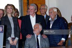 Actress Alice Taglioni, Actor Alain Delon, Actor Jean-Paul Belmondo and Actor Charles Gerard attend the 70 th Anniversary of 'Prix du Quai des Orfevres' at 36 quai des Orfevres on November 15, 2016 in Paris, France.