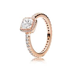5032952ad A classic, sparkling beauty - the Rose Timeless Elegance Ring by PANDORA is  crafted from PANDORA's own unique blend of metals plated in gorgeous rose  gold ...