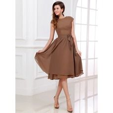 Popular Scoop Short Knee Length Chiffon Bridesmaid Dresses Modest Bridesmaid Dress with Sleeves Trendy Dresses, Modest Dresses, Cute Dresses, Beautiful Dresses, Casual Dresses, Fashion Dresses, Prom Dresses, Formal Dresses, Graduation Dresses