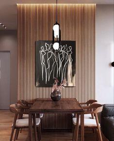 Home Design Decor, Wall Design, Home Interior Design, Diy Home Decor, Interior Decorating, House Design, Wood Slat Wall, Living Room Decor, Bedroom Decor