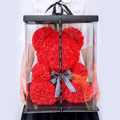 Love Rose Flower Bear With Box Wife Girlfriend Birthday Wedding Valentine Gift Bear Valentines, Valentine Day Gifts, Love Rose Flower, Heart Flower, Girlfriend Birthday, Girlfriend Meme, Crazy Girlfriend, Rose Decor, Foam Roses
