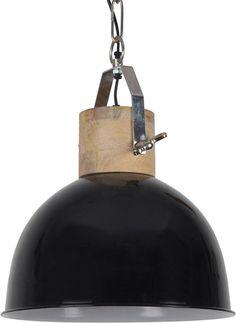 Casa-bella.nl - Hanglamp Fabriano 30 cm - glans zwart + witte binnenzijde