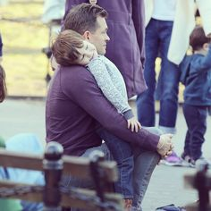 Hugh and Cyrus at the park yesterday (February 19) in NY