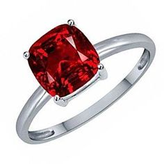 1.25 Ct Cushion Cut July Birthstone Ruby 14K White Gold Solitaire Ring # Free Stud Earrings by JewelryHub on Opensky #SterlingSilverWhiteGold