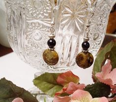 Snakeskin Agate and Navy Goldstone Earrings,$16, #RomanticThoughts.etsy.com, #jewelry