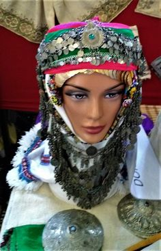 A traditional festive headgear from the Bergama area.  Ethnic group: Tahtacı, Alevi Türkmen.  (Source: Hasan Türken'in arşivi / BEFEM). Tribal Dress, Wedding Costumes, Folk Costume, Body Modifications, Festival Wear, Costume Accessories, Traditional Dresses, Dance Wear, Ethnic