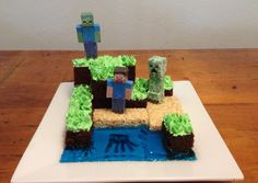 minecraft cake. Jelly water with food safe markers on plate for squid. LCMs for sand Chocolate cake dirt with piped buttercream grass Papercraft steve, creeper and zombie