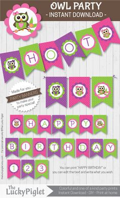 Owl Party Banners for your Owl Party. Yellow, Pink and Lime with white dots - and cute owls for you.