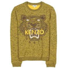 Kenzo Embroidered Tiger Pullover (1,050 SAR) ❤ liked on Polyvore featuring tops, sweaters, kenzo, shirts, lemon, brown shirt, tiger shirt, pullover shirt, brown tops and brown pullover sweater