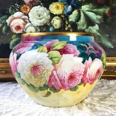 "Limoges France hand-painted jardiniere with colorful roses, artist signed ""F. DARTIGEAS"", W. G. &Co. 1900-1932."