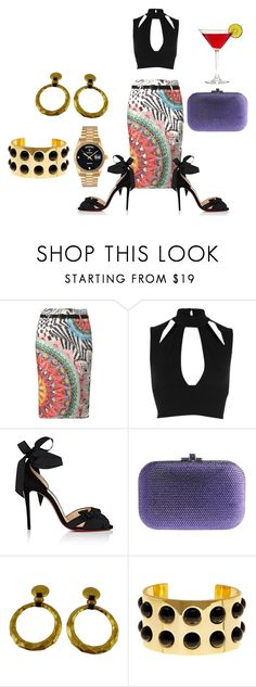"""Untitled #7070"" by billyblaze ❤ liked on Polyvore featuring Izabel London, River Island, Christian Louboutin, Judith Leiber, Chanel, Trina Turk and Rolex"