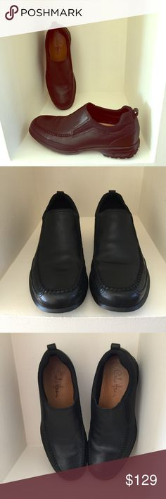 MEN'S COLE HAAN BLACK SLIPONS High end Cole HAAN Leather Slip ons with NIKE Air Sole.  My husband wore these once and decided they were too short.  Look absolutely brand new!  Beautiful dress shoes purchased in Nordstrom.  Smoke and pet free home.  No PP or trades.  Make a Reasonable offer 😉 Cole Haan Shoes Loafers & Slip-Ons