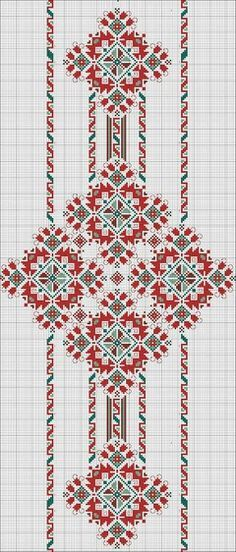 Beading _ Pattern - Motif / Earrings / Band ___ Square Sttich or Bead Loomwork ___ Folk Embroidery, Embroidery Patterns Free, Beading Patterns, Cross Stitch Embroidery, Cross Stitch Borders, Cross Stitch Designs, Cross Stitching, Cross Stitch Patterns, Bordados E Cia