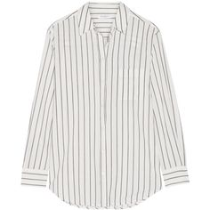 Equipment Kenton striped cotton-poplin shirt (455 RON) ❤ liked on Polyvore featuring tops, blouses, shirts, white, loose fitting blouses, striped shirt, white stripes shirt, loose fitting shirts and white blouse